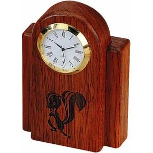 Rosewood Desk Clock w/Gold Bezel