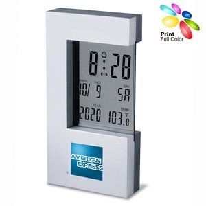 Heavy Zinc Alloy Large Display Digital Clock in Matte Silver Finish