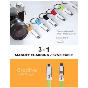 USB Slide Magnet Charging Cable w/ Keychain 3 in 1