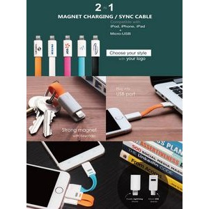 USB Magnet Charging Cable w/ Keychain 2 in 1