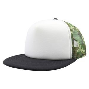 Trucker Snapback camo mesh Trucker Snapback with white foam in front