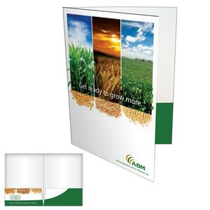 2 Pocket Presentation Folder w/ Glued Pocket & Card Slit on Right Side
