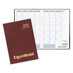 Monthly Desk Saddle Stitched Appointment Planner W/ Leatherette Cover