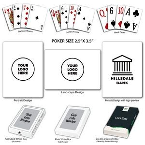 Solid Back White Poker Size Playing Cards w/Regular Face