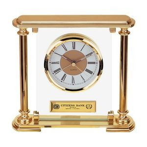 Clock - Showpiece Glass and Gold metal Mantel Desk Alarm Clock