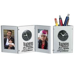 Teachers Believe, Children Achieve Tri-Fold Frame Clock & Caddy