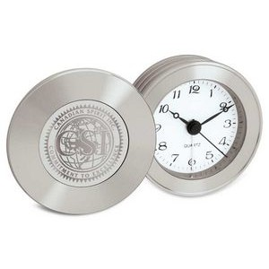 Rodeo II Silver Tone Travel Alarm Clock w/Presentation Box