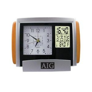 Dual Time Analog and Digital Alarm Clock w/ Calendar
