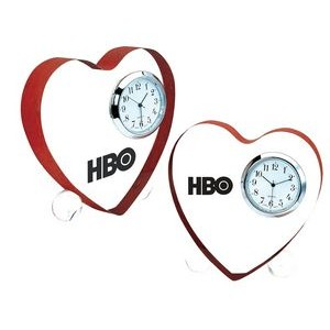Solid Lucite Heart Shape w/ Quartz Clock