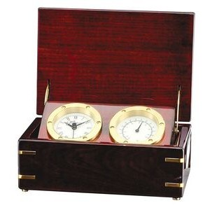 Rosewood Desk Thermometer & Clock