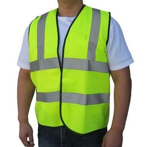 Safety Green ANSI/ISEA 107-2015 Class 2 Tricot Mesh Light Weight Safety Vest