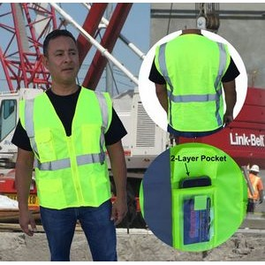 ANSI 107-2015 Class 2 Safety Vest Neon Green With Pockets