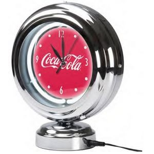 Chrome Retro Style Tabletop Neon Clock