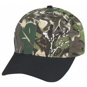 Low Crown 6 Panel Camo Twill Cap w/Black Bill
