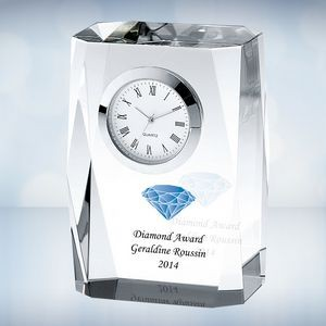 Color Imprinted Beveled Column Optical Crystal Clock