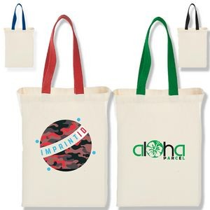 Grocery Canvas Tote Bag w/Colored Handles (10