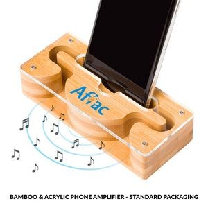 Bamboo & Acrylic Phone Amplifier with Standard Packaging
